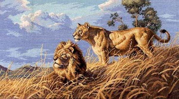 К схеме вышивки «Пара львов»