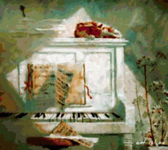Кот на пианино.
