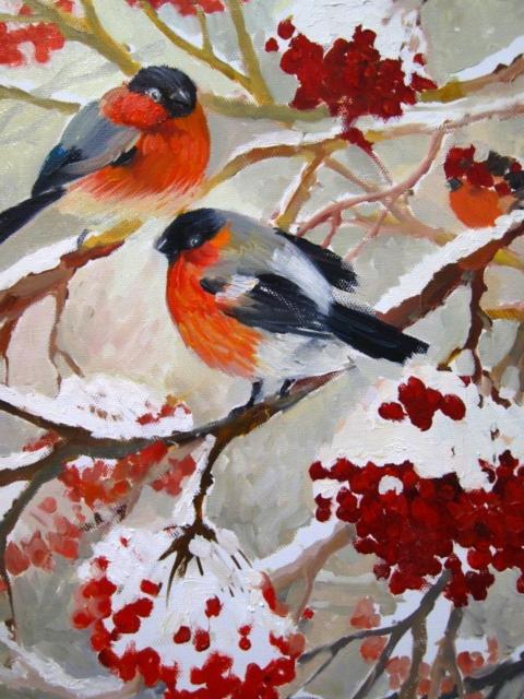 Снегири, птицы, снегири, зима,