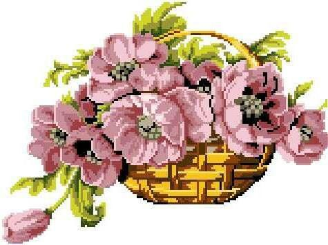Корзина с анемонами, цветы,