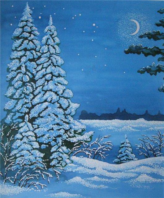 Зимняя ночь, живопись, пейзаж,