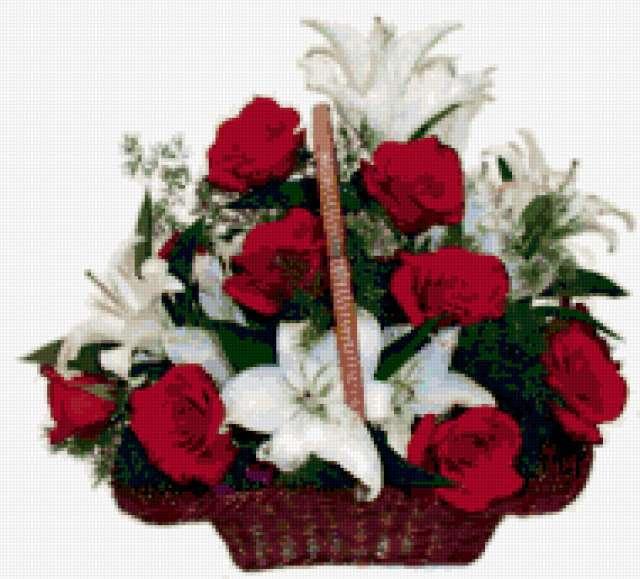 Розы и лилии, цветы, лилии,