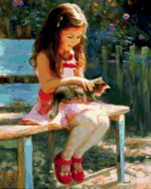 Девочка с котенком, ребенок,