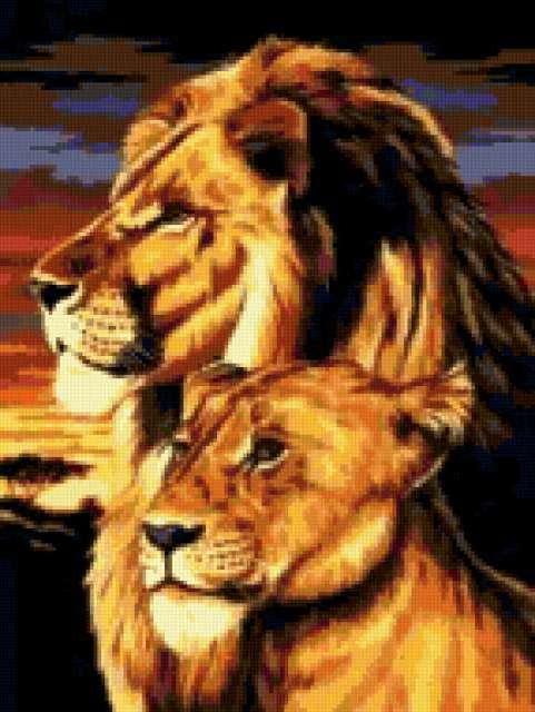 Пара львов, предпросмотр