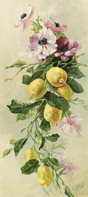 Лимоны и цветы, цветы, фрукты