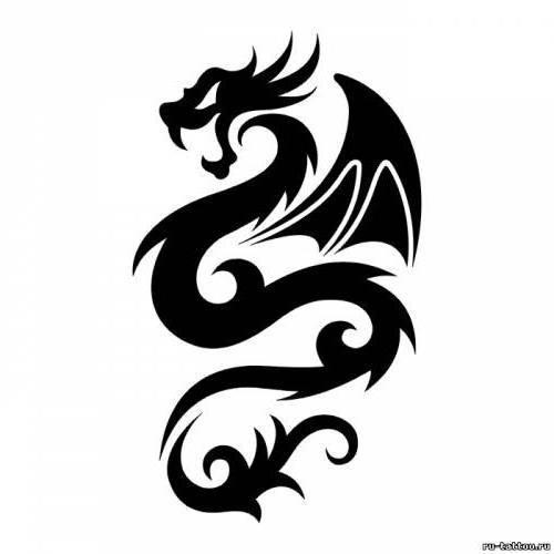 Дракон, дракон, тату, черно