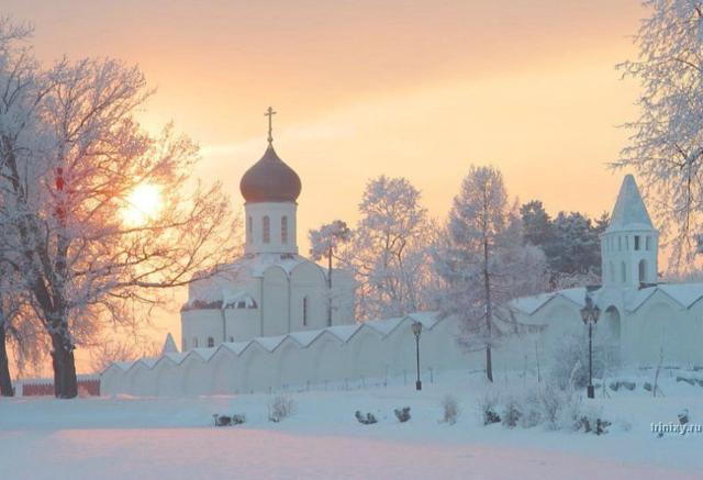 Зима, зима, природа, храм,