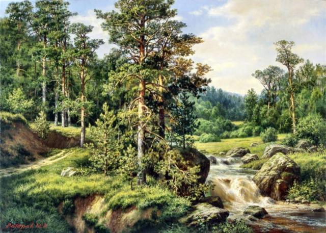 Летний пейзаж, живопись