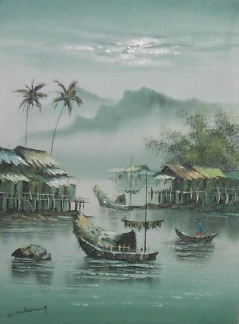 Китайский пейзаж, пейзаж, вода