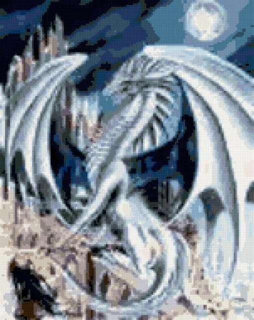 Белый дракон, луна, серебро,