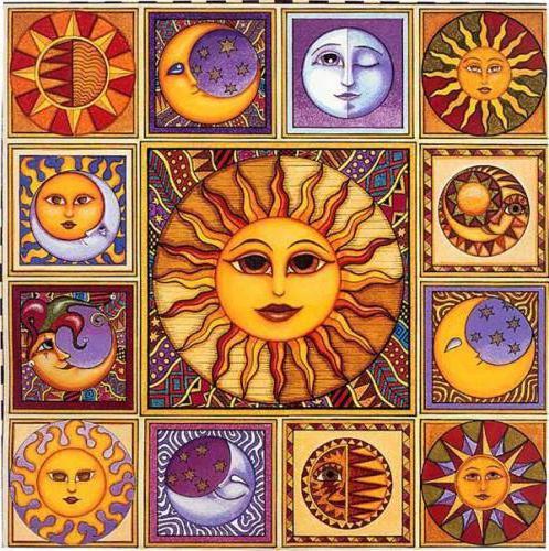 """Подушка """"Лики Солнца и Луны"""","""