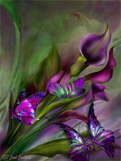 Каллы и бабочки., оригинал