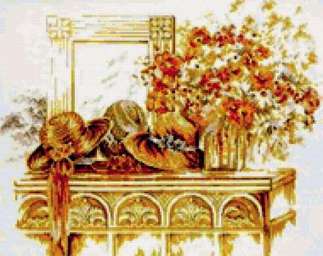 Шляпы, зеркало, цветы на столе