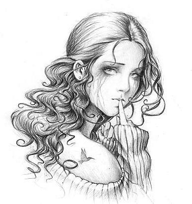 Черно-белое, девушка, рисунок