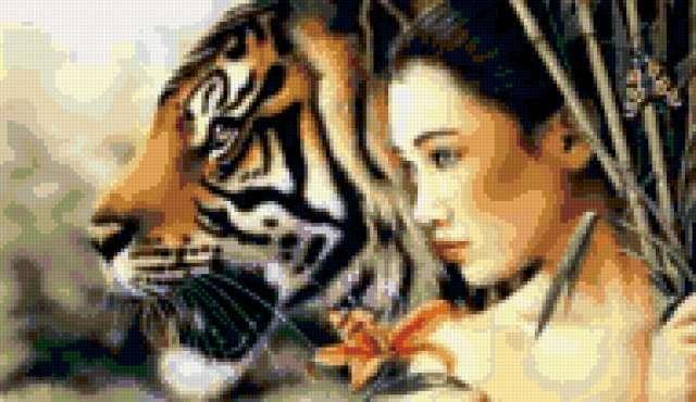 Девушка с тигром, предпросмотр