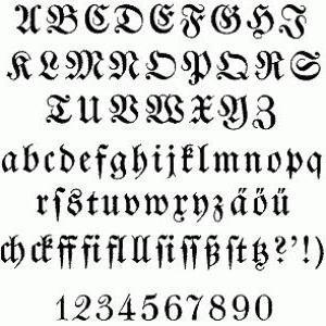 Латинский алфавит готика оригинал