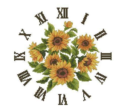Вышивка крестом часов подсолнухи