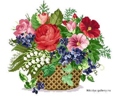 Картинки букетов цветов для вышивки 34