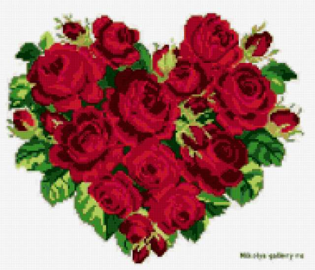 Сердце из роз, цветы