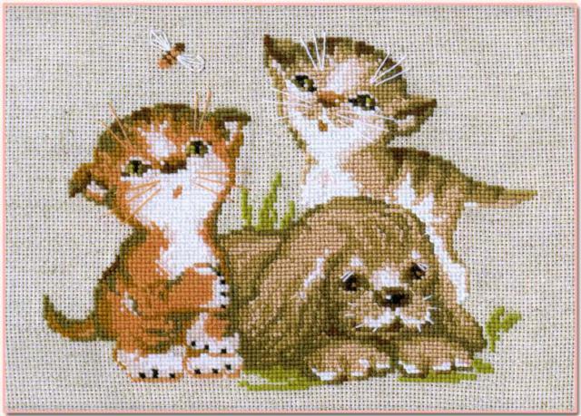Котята и щенок, оригинал