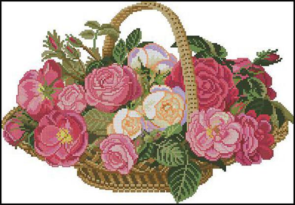 Корзина с розами, цветы,