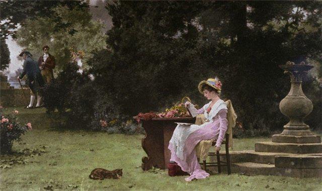 Чтение в саду., книга, чтение,