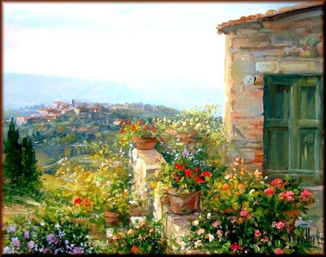 пейзаж, италия, картина,