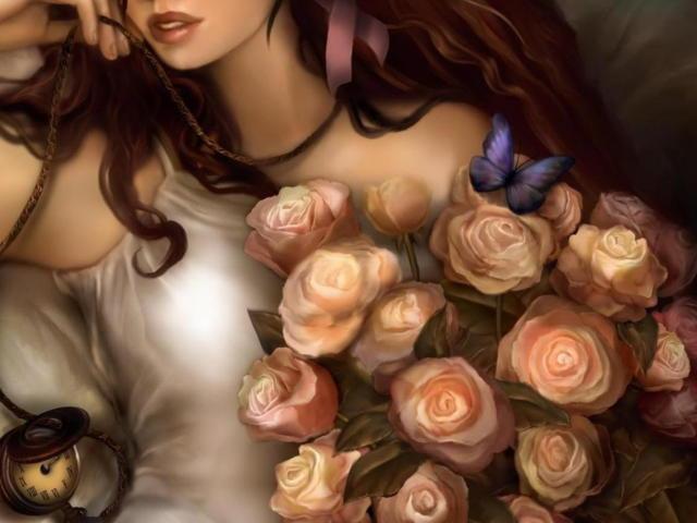 Девушка с розами, розы, букет,