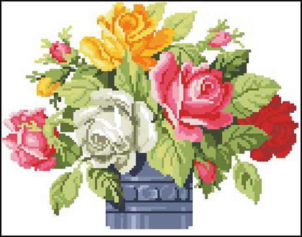 Букет роз, цветы, букет, ваза,