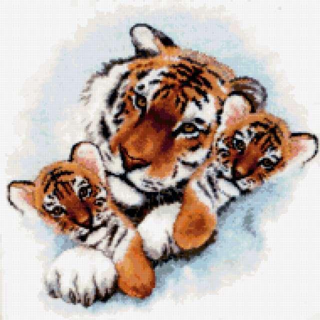 Два тигренка с мамой,