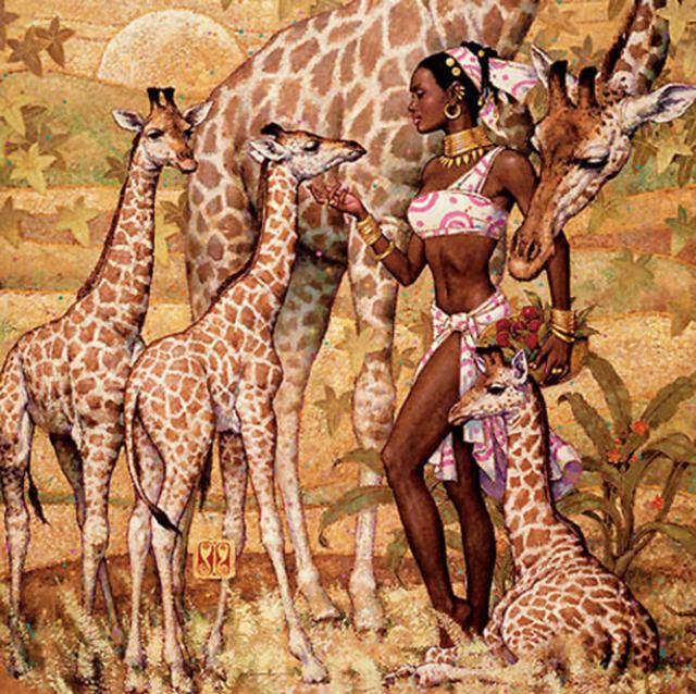 Подушка - девушка и животные,