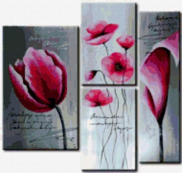 Триптих цветы, предпросмотр