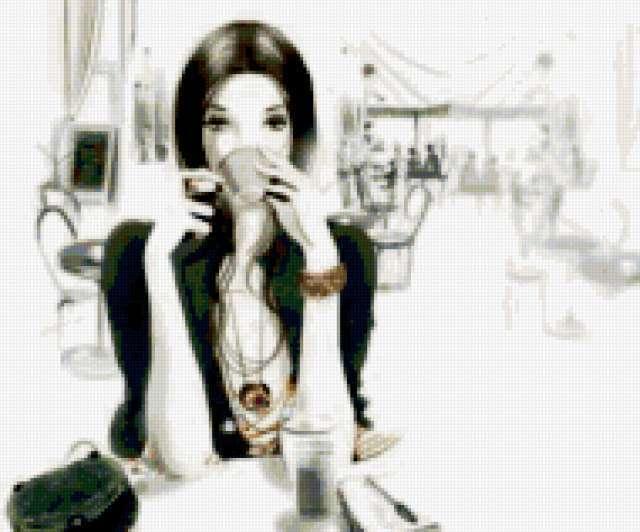 Девушка с кофе, предпросмотр