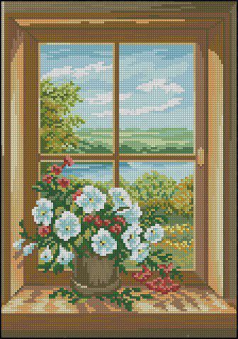 Букет цветов на окне, цветы,