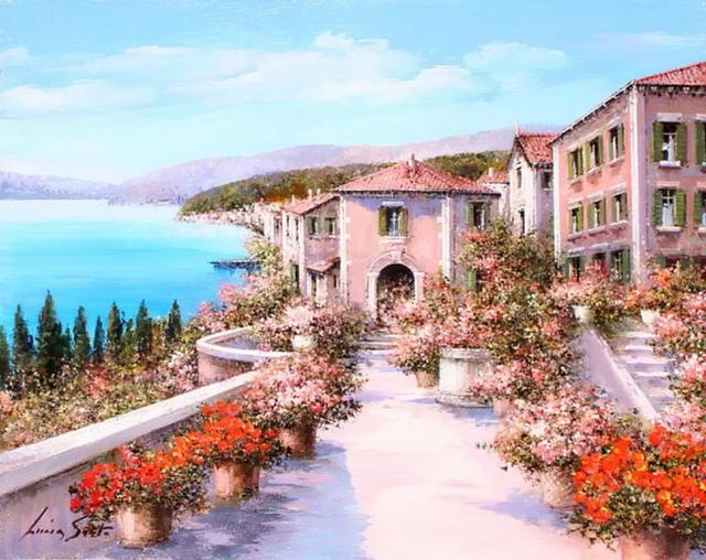 Побережье Италии, живопись