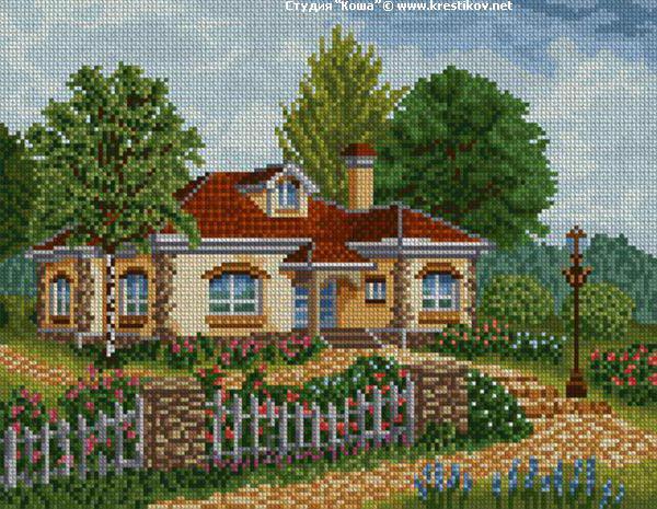 Дом с садом схема вышивки 11