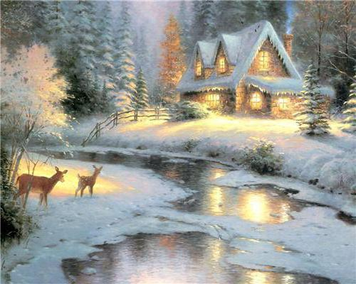 Избушка в зимнем лесу,