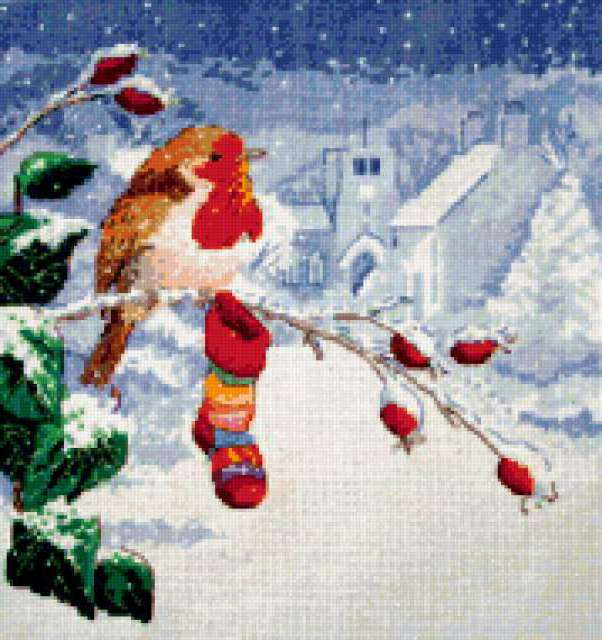 Снегирь, снегирь, зима, чулок