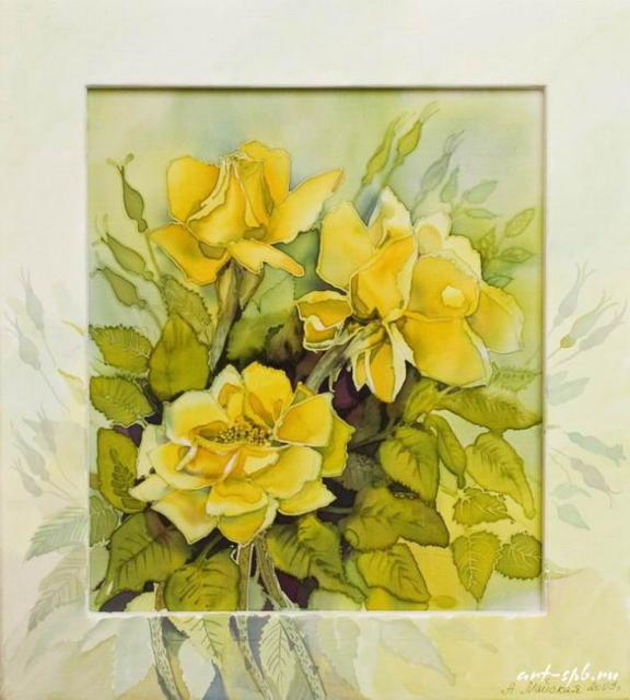 Желтые розы, живопись, батик,