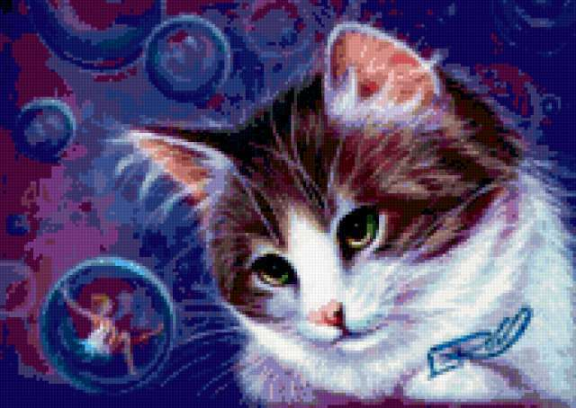 Кот и мыльные пузыри,