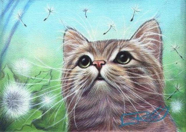 Кот и одуванчики, оригинал