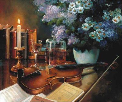 Скрипка, музыка, натюрморт