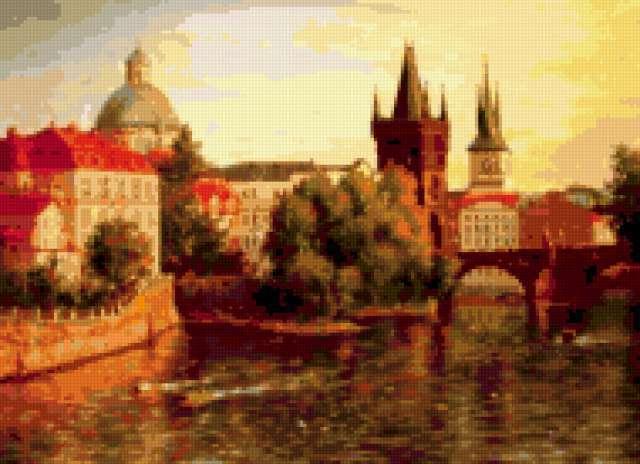 Прага. Вид на Карлов мост,