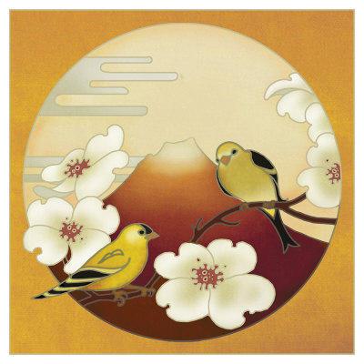 Панно в японском стиле, птицы,
