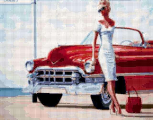 Девушка у красной машины,