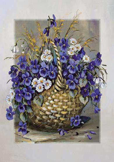 Синие цветы в корзине, цветы