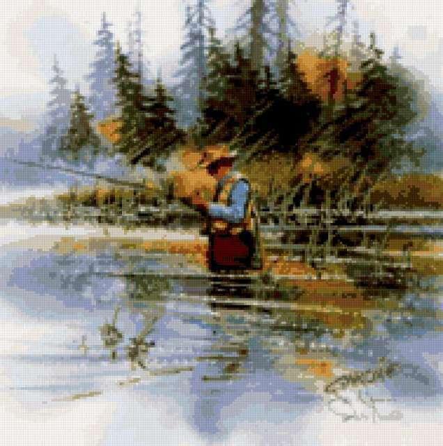Осень, река, рыбалка.