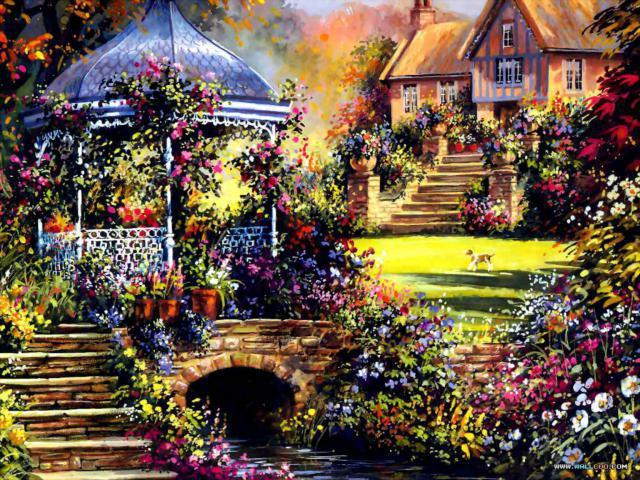 Беседка в цветах, картина,