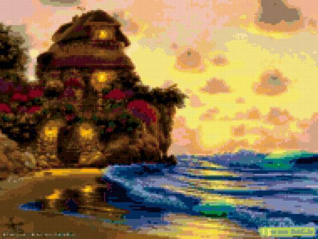 Дом на берегу, домик, замок,