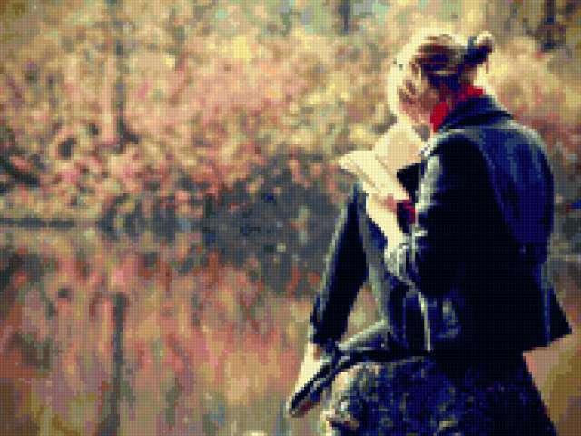осень, девушка, чтение,